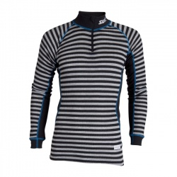 triko Swix RaceX Bodyw Halfzip, black/grey stripes